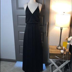 H&M Chain Detail Black Satin Maxi Dress